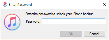 Enter the Password to Unlock the iTunes Backup