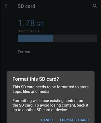 Format an SD Card on an Android Device
