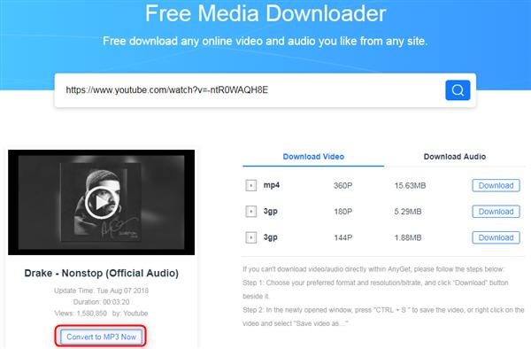 Free Download Drake Nonstop mp3 via AnyGet