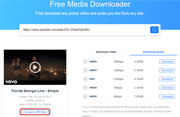 Free Download Simple MP3 via AnyGet