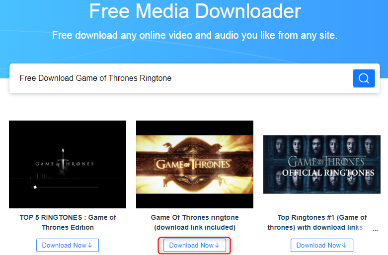 Free Download Game of Thrones Ringtone via AnyGet
