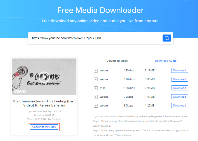How to Free Download The Chainsmokers This Feeling mp3 via AnyGet - Step 2