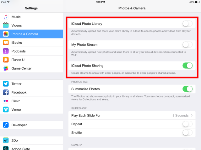 How to Make More Room on iOS 9 Devices – Turn off Photo Stream