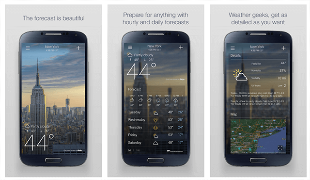 Yahoo Weather - combination of Flickr images and weather information