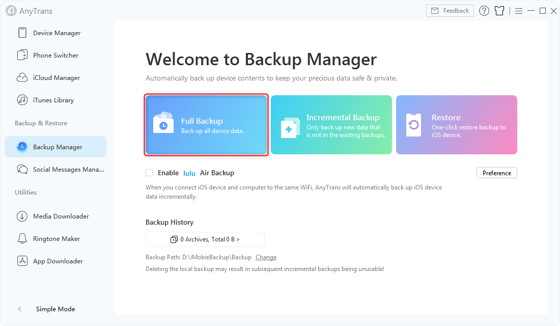 Full Backup in AnyTrans for iOS - Step 2