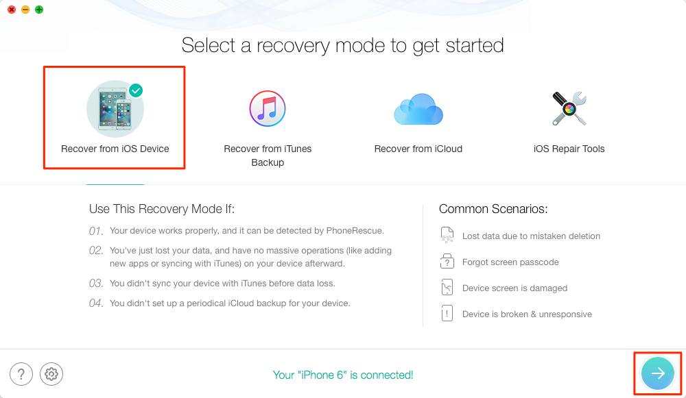 How to Get Back Deleted Pictures on iPhone without Backup – Step 2