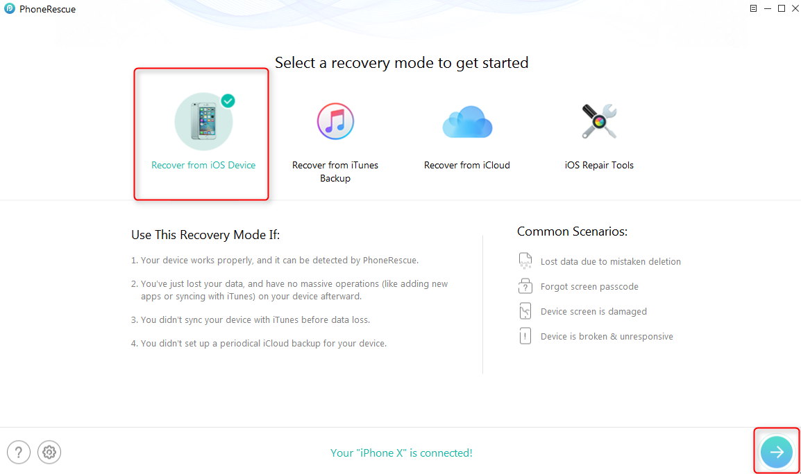 How to Retrieve Deleted Voice Memos from iPhone without Any Backups - Step 1