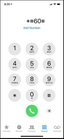 Get IMEI on iPhone via the Phone App