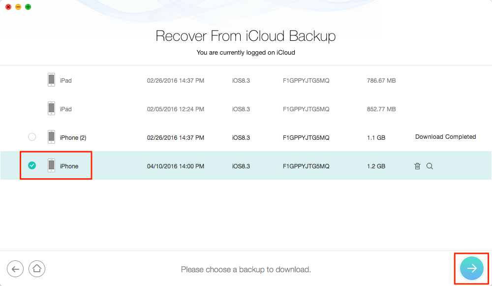 How to Get Photos from iCloud without Resetting – Step 3