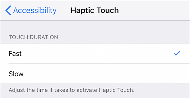 Configure the Haptic touch options on the iPhone XR