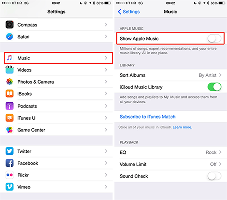 How to Hide Apple Music on iPhone/iPod touch/iPad