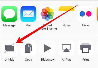 Unhide Multiple Photos/Videos on iOS 9