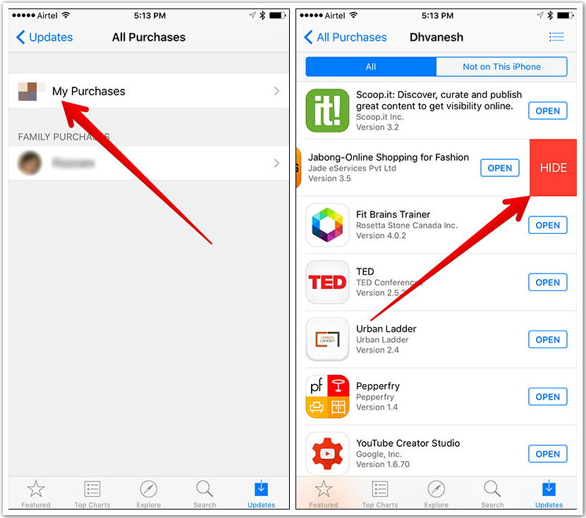 How to Hide Purchased Apps on iPhone in iOS 9