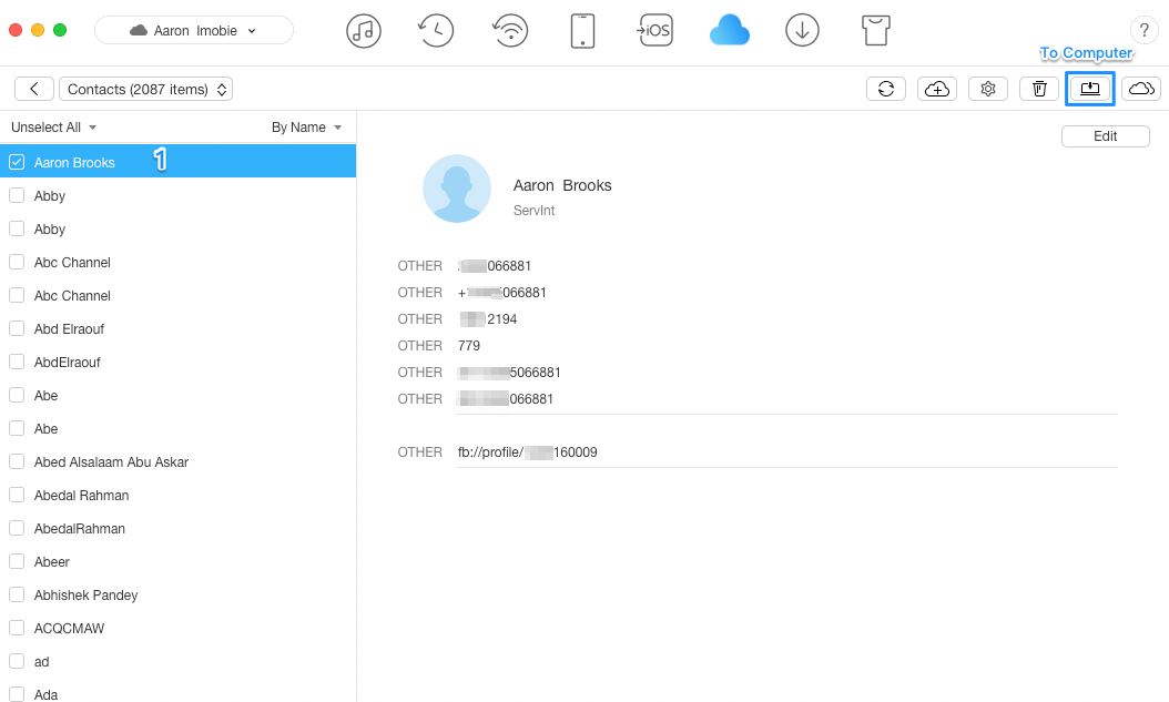 How to View iCloud Contacts with AnyTrans – Step 3