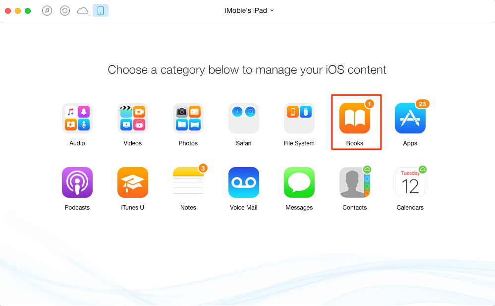 How to Put Books on iPad with AnyTrans – Step 2