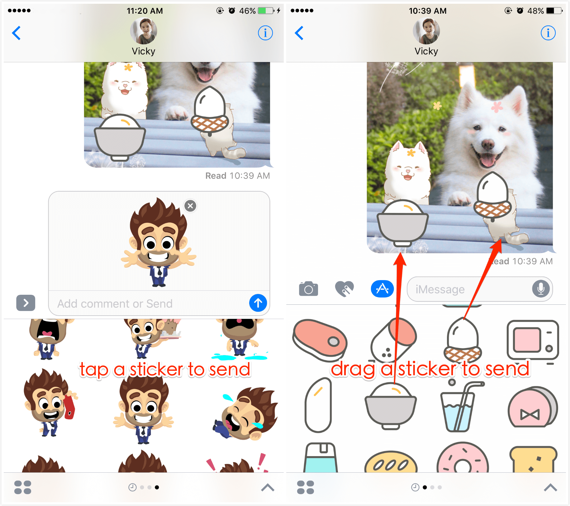 Stickers add to photos