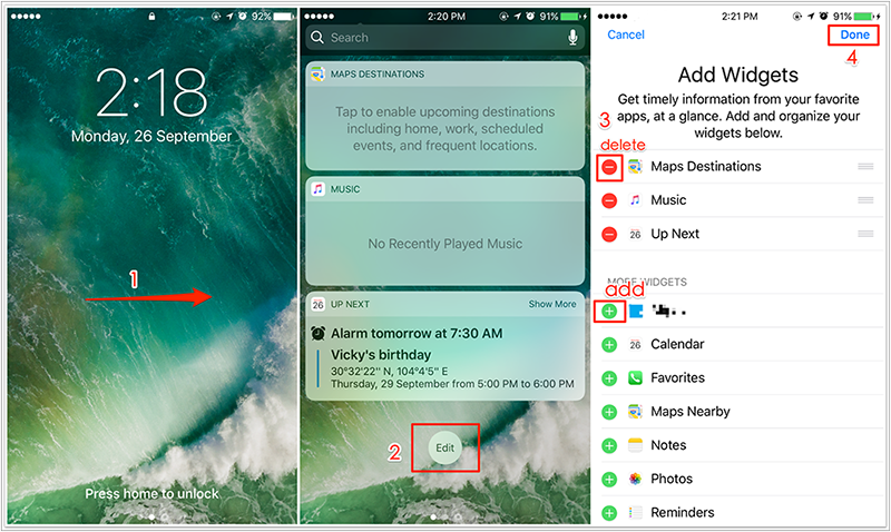 How To Add Or Remove Widgets To IOS 10 Lock Screen
