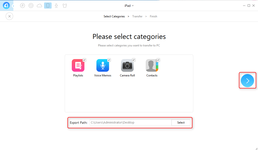 How to Backup an iPad with AnyTrans - Step 2