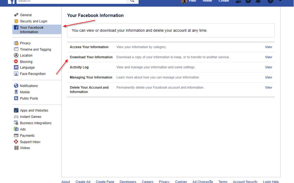 How to Backup Facebook to Computer - Step 2