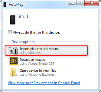 Backup iPhone Camera Roll to PC with AutoPlay