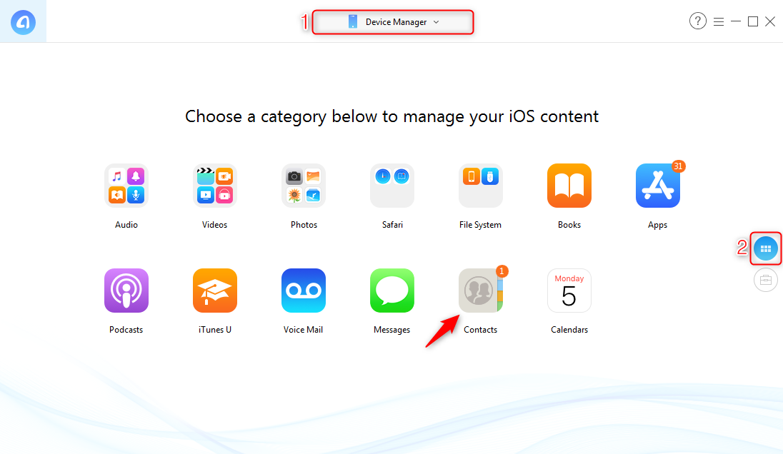 How to Backup iPhone Contacts to Computer without iTunes - Step 1
