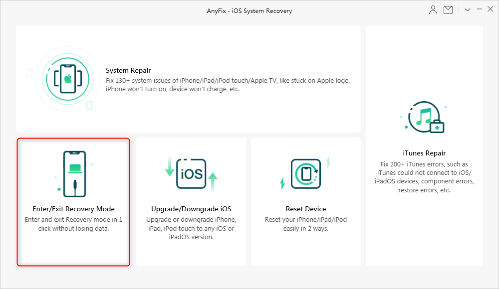 Enter/Exit iPhone Recovery Mode via AnyFix