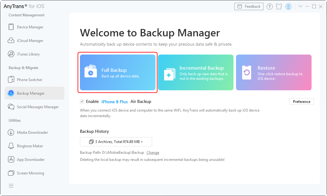 How to Backup iPhone with iCloud Alternative - Step 2