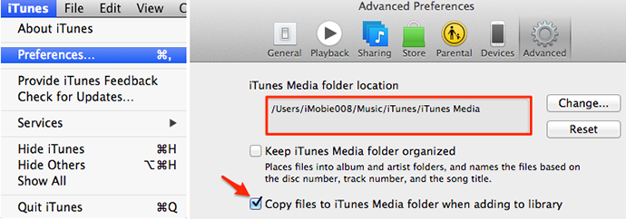 Find iTunes media files location on iTunes 12
