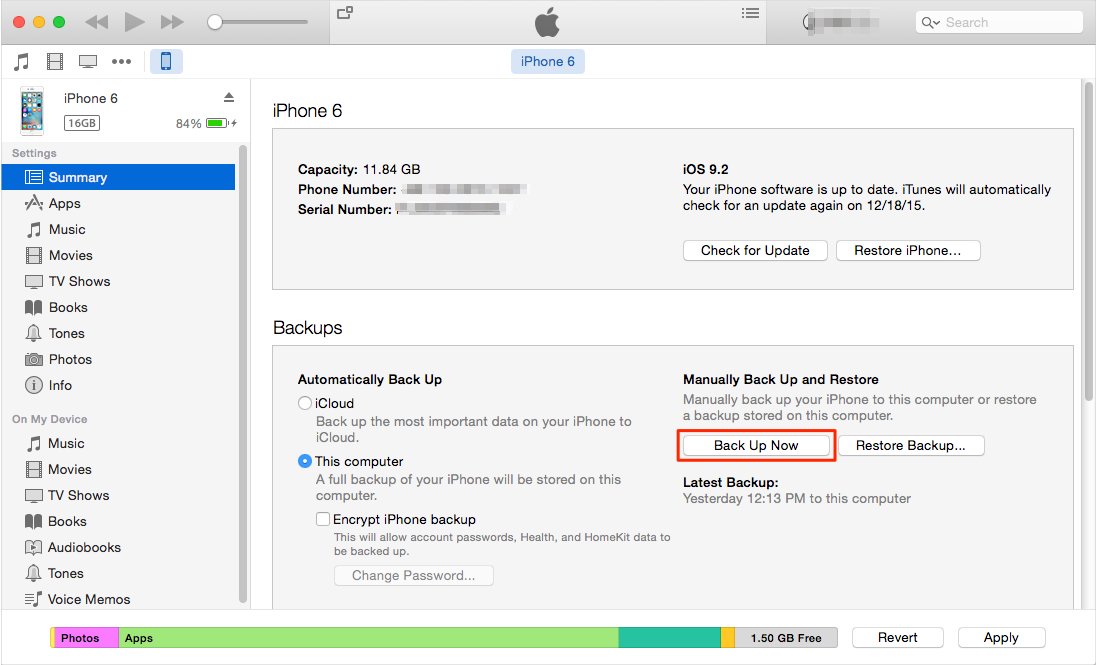 How to Backup Photos to iTunes with iTunes