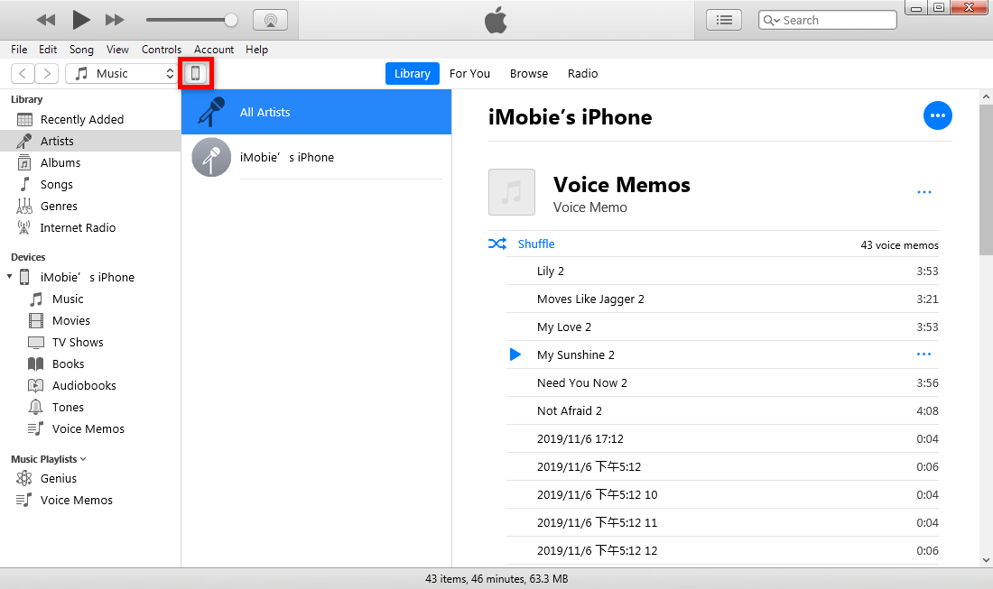 How to Backup iPhone to iTunes – Click iOS Device Icon