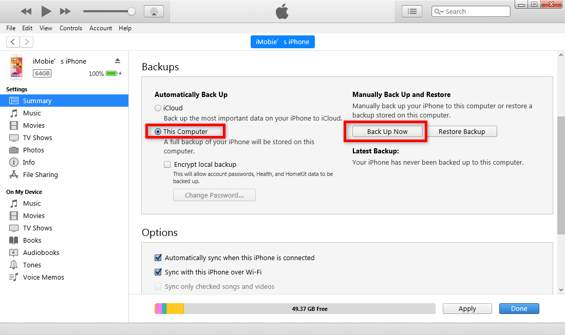 How to Backup iPhone using iTunes to This Computer