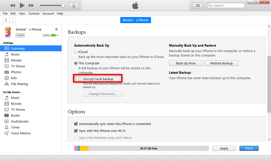 How to Backup iPhone to iTunes and Encrypt the Backup