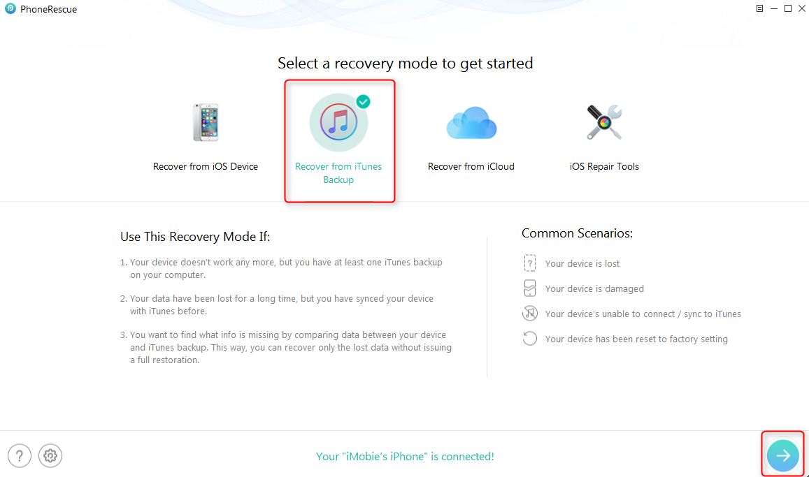 How to Selectively Restore iPhone/iPad with PhoneRescue -Step 1