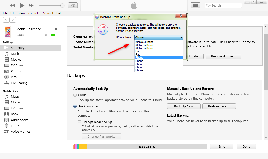 How to Restore iPhone/iPad with iTunes - Step2