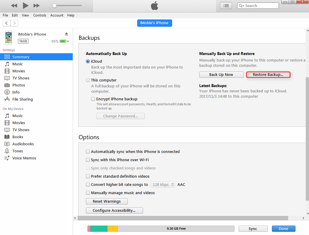 Restore Deleted Text Messages from iTunes - Step 2