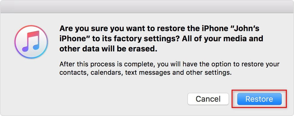 Erase iPhone to Restore Messages from iTunes