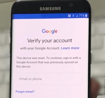 Google Account Verification on Samsung
