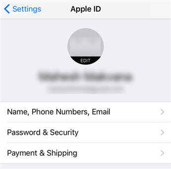 Access the Apple ID section on your iOS device