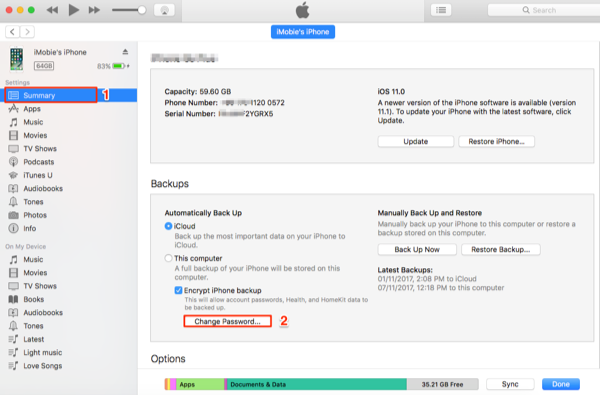 How to Change iPhone Backup Password in iTunes - Step 2