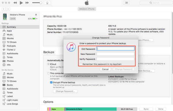 How to Change iPhone Backup Password in iTunes - Step 3
