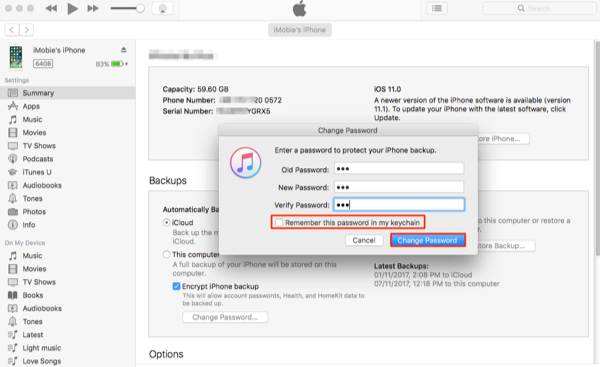 How to Change iPhone Backup Password in iTunes - Step 4