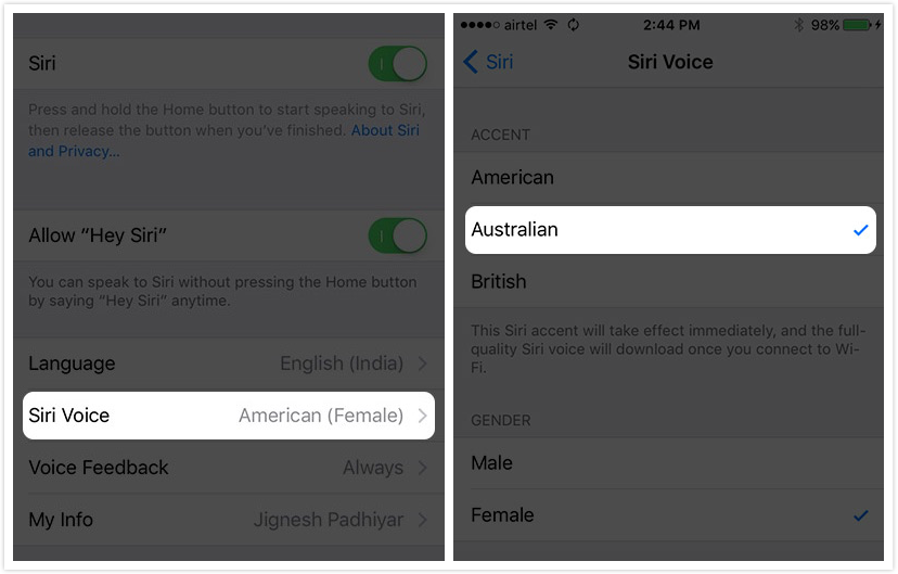 How to Change Siri Voice Accent on iPhone in iOS 9