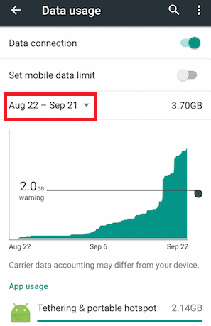 How to Check Data Usage Android- Overall Data Consumption - Step 3