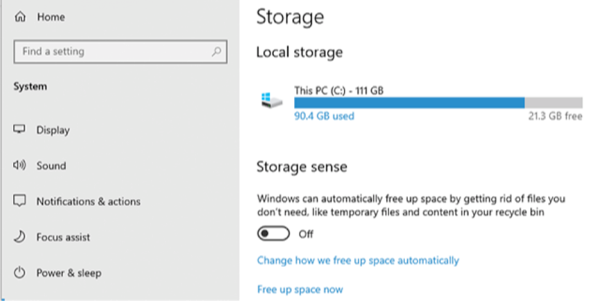 Clean up Windows 10 - Enable Storage Sense on Your PC