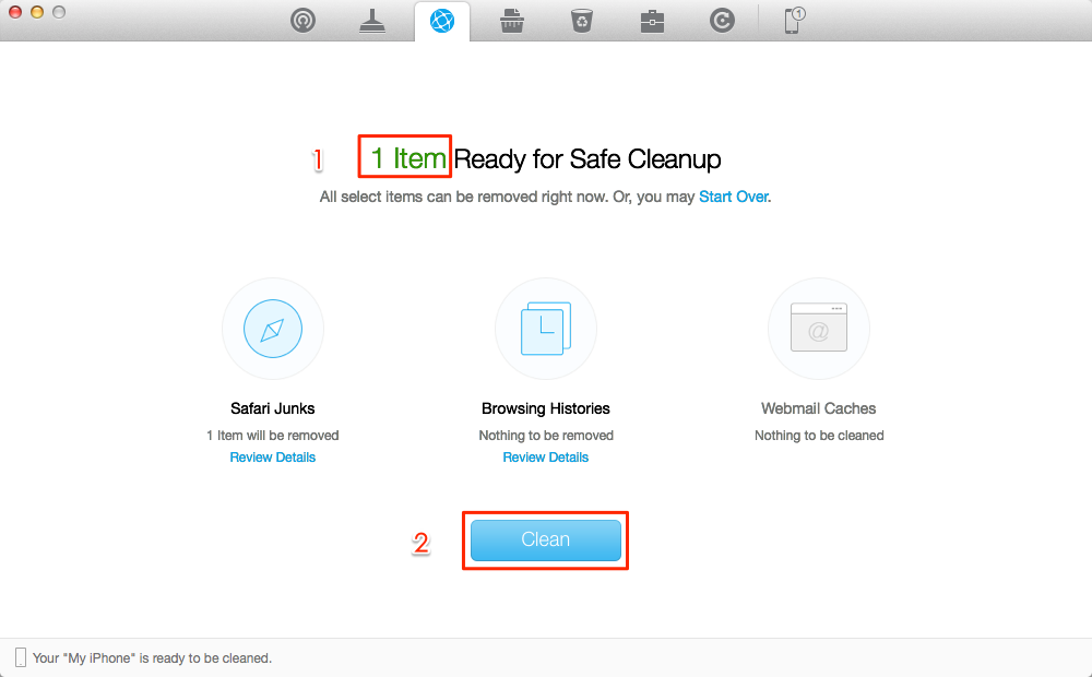 How to Clear History on iPad by Using PhoneClean – Step 3