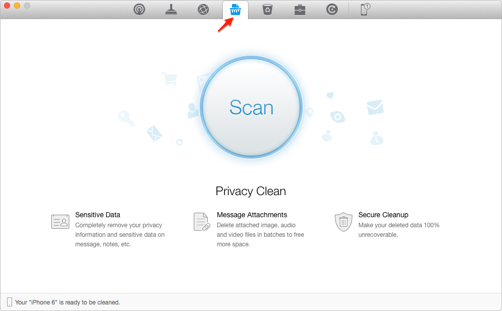 Remove Personal Information on iPhone with PhoneClean – Step 1