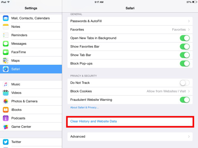 How to Clear Safari History on iPad via Settings App