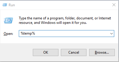 Open the temp folder on your computer