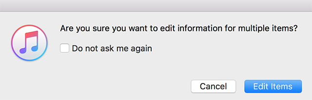 Accept the prompt to edit items in iTunes