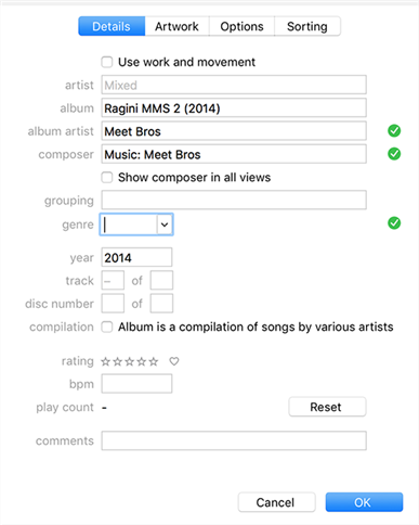 Adjust the music track details in iTunes